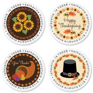 Give Thanks Round Address Labels (4 Designs)