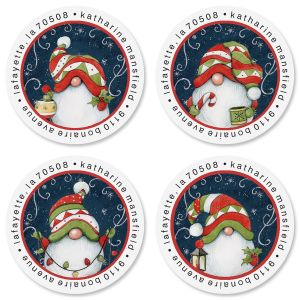 Holiday Magic Gnome Round Address Labels (4 Designs)