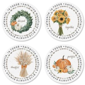 Harvest Notes Round Address Labels (4 Designs)