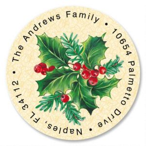 Holly Round Address Label