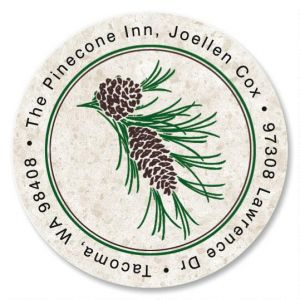 Pinecone Round Address Label