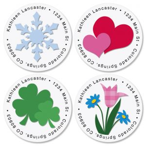 Year Round Round Address Labels  (12 designs)