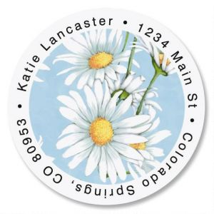 Daisy Collage Round Address Labels