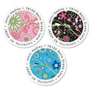 Fun Pattern Round Address Label  (3 designs)