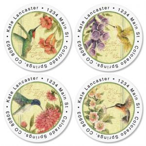Hummingbird Round Address Label  (4 designs)