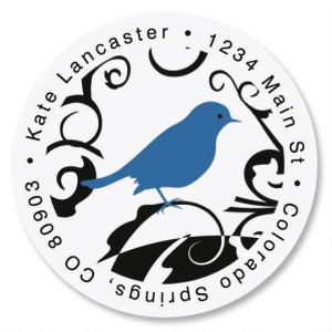 Distinctive Bird Round Address Label