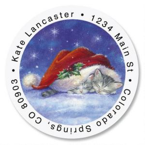 Santa Hat Snuggles Round Address Labels