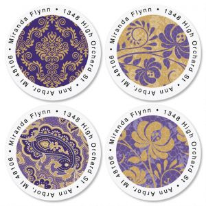 Frosty Lavender Round Address Labels  (4 Designs)