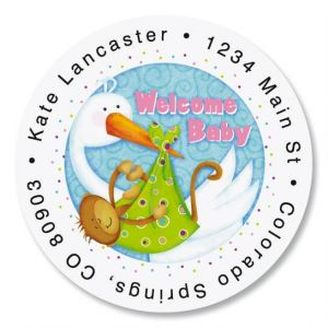 Welcome Baby Round Address Labels