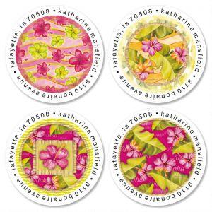Island Hibiscus Round Address Labels  (4 Designs)
