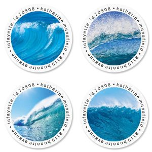 Energetic Ocean Round Address Labels  (4 Designs)