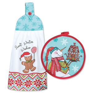 Gingerbread Tie Towel & Pot Holder