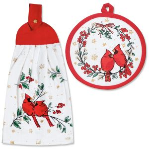 Cardinal Pot Holder & Tie Towel
