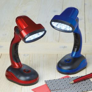 Cordless LED Desk Lamp in Red & Blue