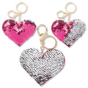 Sequin Heart Keychains