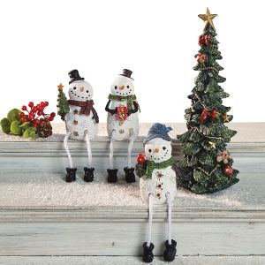 Sparkly Christmas Tree & 3 Snowmen Shelf Sitters