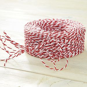 Red & White Jute Christmas Cord