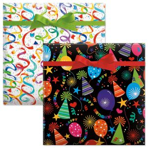 Black Hats/Streamer Confetti Birthday Jumbo Rolled Gift Wrap