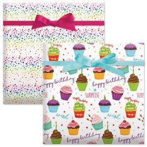 Cupcake/Confetti Birthday Jumbo Rolled Gift Wrap