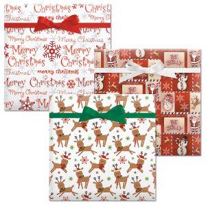 Be Jolly/Merry Reindeer/Merry Christmas Script Jumbo Rolled Gift Wrap