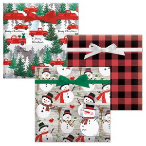 Red Truck/Buffalo Plaid/Snowman with Scarf Jumbo Rolled Gift Wrap