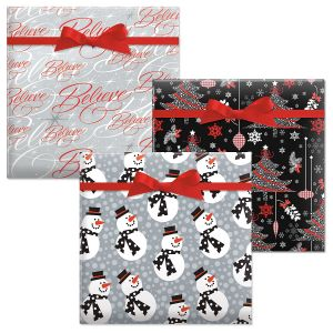 Believe Silver/Decked Out Decor/Snazzy Snowman Jumbo Rolled Gift Wrap