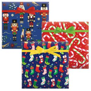 Nutcracker/Colorful Candy Cane/Christmas Stockings Jumbo Rolled Gift Wrap