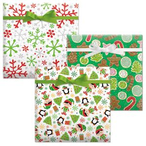 Crackle Snow Red/Elves/Christmas Cookies Jumbo Rolled Gift Wrap