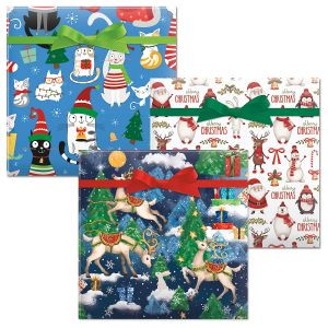 Christmas Cats/Reindeer Fantasy/Winter Friends Jumbo Rolled Gift Wrap