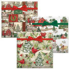 Holiday Horses/Evergreen Christmas/Tree Cardinal Jumbo Rolled Gift Wrap