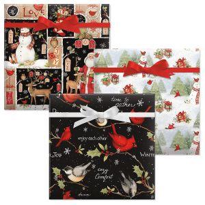 Woodland Christmas/Birds On Black/Snowy Cardinal Jumbo Rolled Gift Wrap