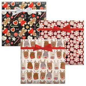Reindeer Heads/Christmas Candy/Sweet Treats Jumbo Rolled Gift Wrap