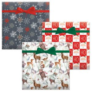 Forest Friends/Great Northwest/Checkerboard Santa Jumbo Rolled Gift Wrap