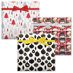Snowman In Squares/Black and Gold Christmas/Winter Forest Jumbo Rolled Gift Wrap