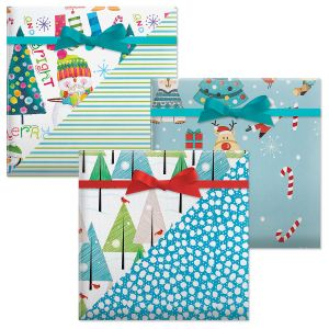 Merry & Bright/Christmas Critters/On a Winter's Day Double-Sided Jumbo Rolled Gift Wrap
