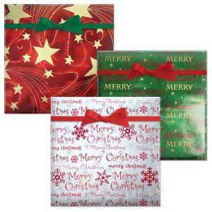 Golden Starlight/Merry Christmas Wishes/Merry Christmas Script Foil Jumbo Rolled Gift Wrap