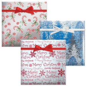 Candy Canes/Snowy Winter Trees/Merry Christmas Script Foil Jumbo Rolled Gift Wrap