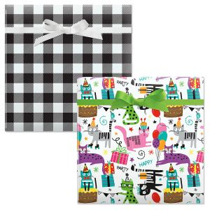 Birthday Cats/Black and White Plaid Birthday Jumbo Rolled Gift Wrap