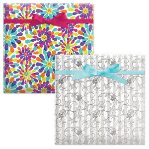 Color Splash/Pearl Stripe Swirls Birthday Jumbo Rolled Gift Wrap