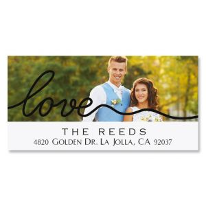 Love Black Caption Deluxe Photo Personalized Address Labels