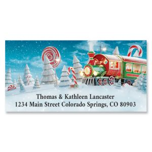 Candy Cane Train Deluxe Address Labels