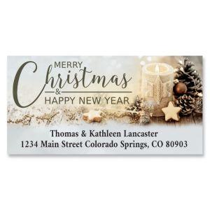 Golden Christmas Deluxe Address Labels