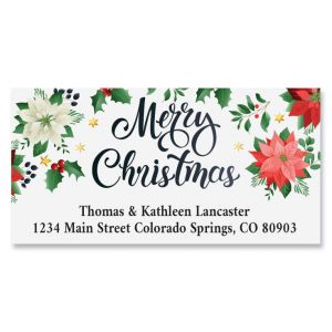 Christmas Poinsettia Deluxe Address Labels