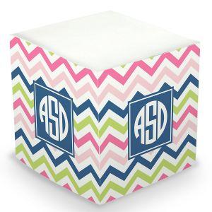 Personalized Chevron Sticky Memo Cube