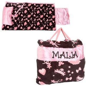 Personalized Pink Ballerina Print Napbag