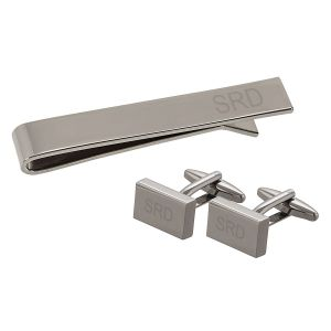 Personalized Gunmetal Cuff Link & Tie Clip Set