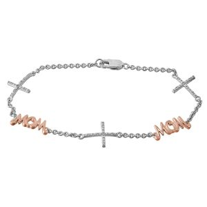 Mom Diamond Cross Station Bracelet