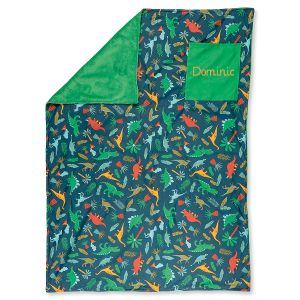 All-Over Green Dino Print Personalized Blanket by Stephen Joseph®