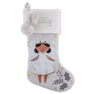 Personalized Embroidered Black Hair Angel Stocking by Stephen Joseph®
