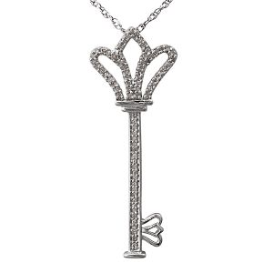 "Sterling Silver Royal Key Pendant with 18"" Chain"